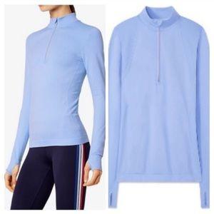 Tory Burch Blue Quarter Zip Seamless Pullover Sz L